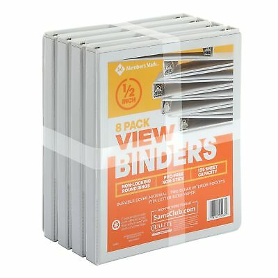 3 Ring View Binders 8 pack 1/2 inch 125 Sheet Presentation Locking Round Rings