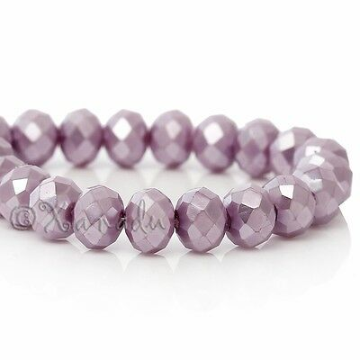 Light Mauve Wholesale 8mm Faceted Crystal Beads G3728 - 50, 100 or 200PCs