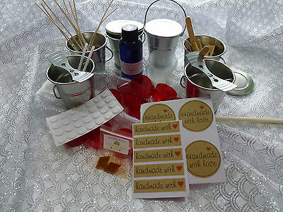 Candle making kit, bulk 8 x outdoor tin buckets, JUG plus all you need.