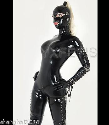 100% Latex Rubber Bodysuit Catsuit Overall Buckle String Suit Leotard Mask Hood