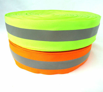 50m Silver Reflective Tape Strip Sew-On lime Orange Fabric Safty Vest,Width 2""