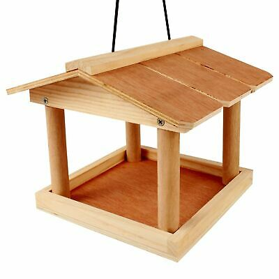 New Hanging Wooden Bird Table Feeding Station Garden Bird Tree Bracket Hang