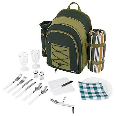 Picnic Hamper Backpack Deluxe 2 Person Cooler Compartment with Tableware Blanket