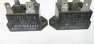 Lot of 2 Mitsubishi Type SF16DAZ-H1-4 DC4-7V AC240V 16A Solid State Relay