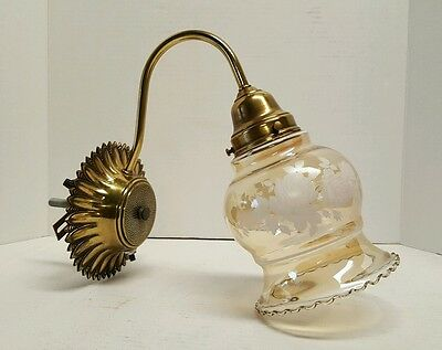 Vintage Glass Globe Flower Hall Light Sconce Brass Tone Unique