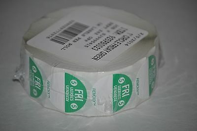 "Trilingual Food Rotation Labels, 1"" Circle Friday Green, 1000 Per Roll"