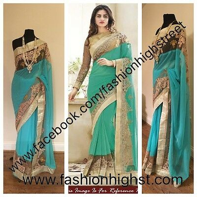 UK stock: Indian Pakistani Bollywood Designer Bridal Mint Green Party Sari saree