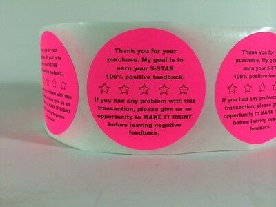 """100 2"""" Feedback 5-STAR STICKERS PINK  Stickers Fluorescent Thank You LABELS NEW"""