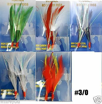 12packs Random Color 2 hook size 3/0 Fishing RockFish Rigs Feather Bait #3/0 New