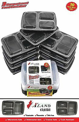 (10 Pack) Meal Prep 3 Compartment Food Container Xland Canada