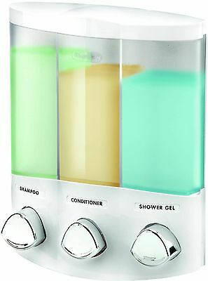Better Living Products Euro Series TRIO Three Chamber Soap and Shower Dispenser