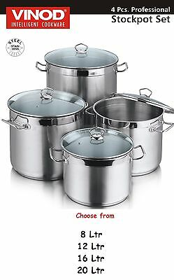 Deep Stainless Steel Professional Stock Pot Glass Lid Casserole Stockpot
