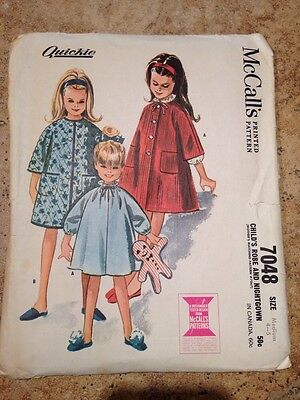 VTG 60s Girl's Robe & Nightgown McCalls 7048 Sewing Pattern Size 4-5 Uncut