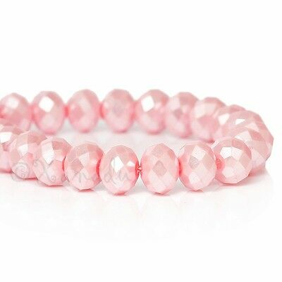 Light Pink Wholesale 8mm Faceted Crystal Beads G3734 - 50, 100 or 200PCs