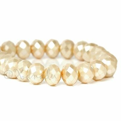 Cream White Wholesale 8mm Faceted Crystal Beads G3735 - 50, 100 or 200PCs