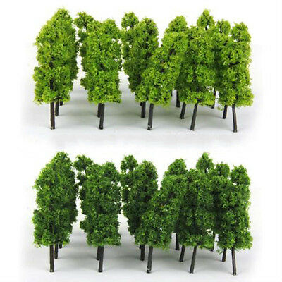 20pcs Green Model Poplar Trees Layout Railway Road Landscape Scenery HO OO Scale