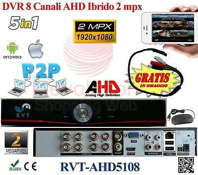 Dvr 8 Canali H264 HDMI Cloud AHD HIBRYD Per iPhone Android Pc P2P Ip dinamico