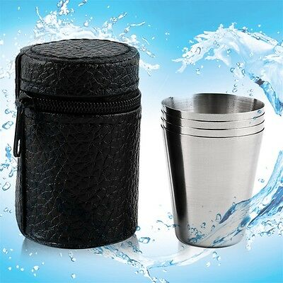 1 Set of 4 Stainless Steel Camping Cup Mug Drinking  With Case DE