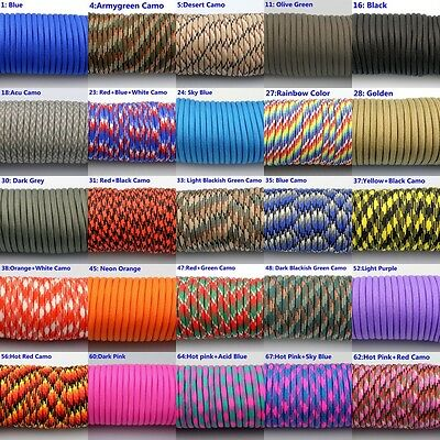 50-100FT 550 Paracord Parachute Cord Lanyard Mil Spec Type III 7 Strand Core #02