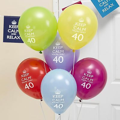 8 x 40th Birthday Balloons Keep Calm & Party On Decorations you're only 40!