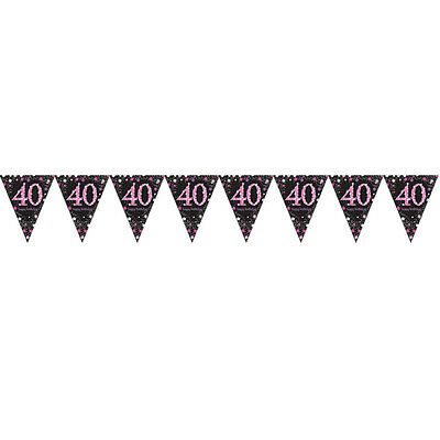 40th Birthday Pennant Flag Banner Black Pink Party Decorations Age 40 Bunting