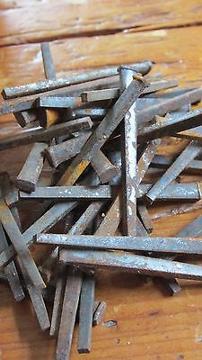 Lot 20 Hand Forged Square Irons Nails Rusty Patina Steampunk Salvage Restoration