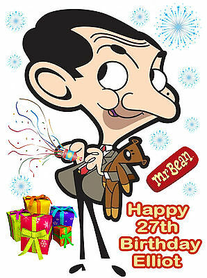 A4 Mr Bean Cartoon Fun Edible Icing Personalised Name Birthday Party Cake Topper