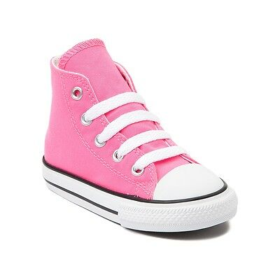 Converse All Star Hi Chucks Infant Toddler Pink Canvas Shoe 7J234 Free Shipping