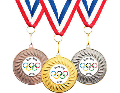 10 x School Sports Day Medals Personalised + Ribbons FREE DELIVERY