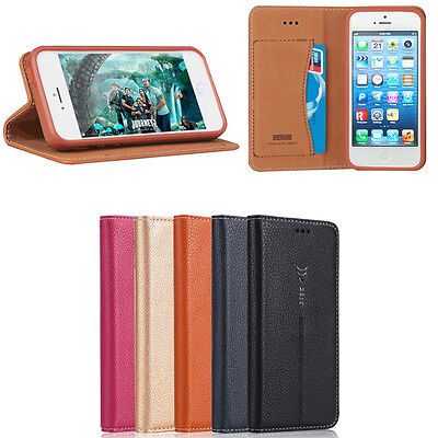 For Apple iPhone SE /5/ 5S Luxury Magnetic Card Slot Leather Wallet Case Stand