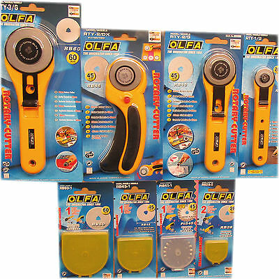 Olfa Rotary Cutters or Spare Blades for Fabric, Leather and Paper All Sizes