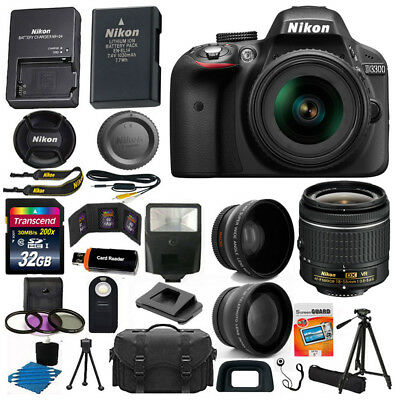 Nikon D3300 Digital SLR Camera 3 Lens Kit 18-55 VR Lens+32GB Best Value Bundle