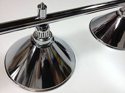 Large QUALITY Pool Snooker Billiard Table Light CHROME With 4 x CHROME SHADES