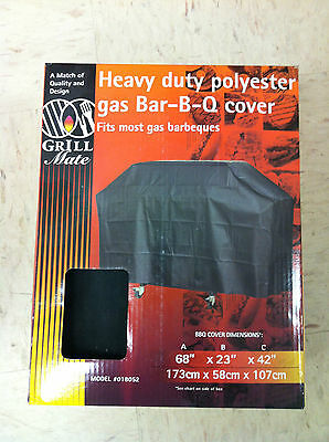 Grill Mate 018052 HEAVY DUTY POLYESTER GAS BBQ BARBECUE COVER 68x23x42 black NEW
