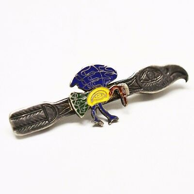 925 Silver Native Raven Designed Brooch/ Pin, Length 2.1 Inches