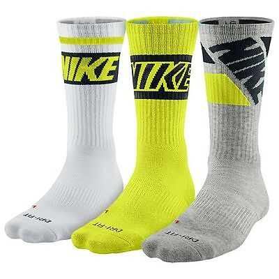 New! Nike Cushioned 3 Pair Socks Womens 4-6 Youth 3Y-5Y Green Black White Size S