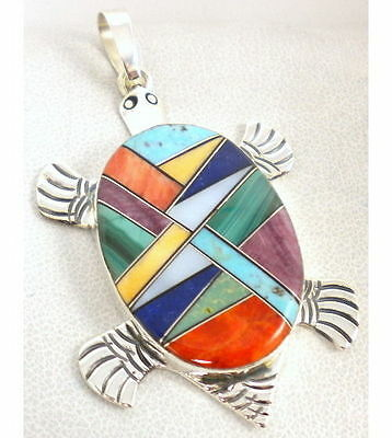 Sterling Silver Navajo Spiny Multi Inlay Turtle Pin Pendant