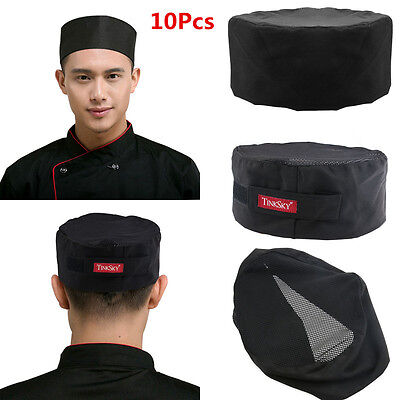 10pcs TINKSKY Mesh Top Skull Cap Pro Catering Chefs Hat with Adjustable Strap