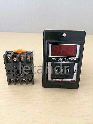 1 set 12/24/110/220V Power ON Delay Timer Time Relay 1-999 Seconds+ Socket Base