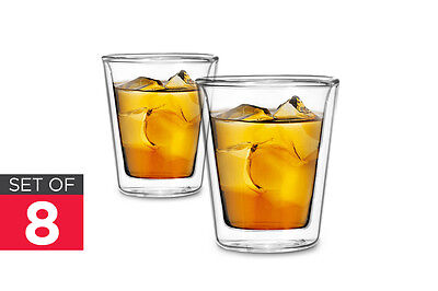 NEW Ovela Drinking Glass 8 Pack Double Wall Trapezoid 80ml Drinkware