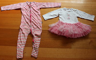Target baby girl long sleeve pink tutu and Bonds wondersuit size 1  Used