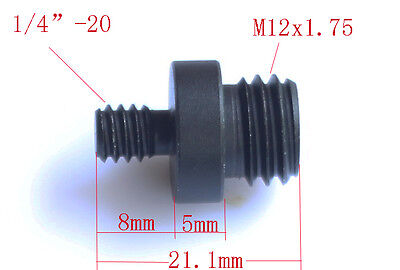 "1/4"" Male Threaded to M12x1.75 Male Threaded screw Adapter fr 15mm rod Rail DSLR"