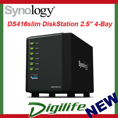 "Synology DiskStation DS416Slim 4-Bay NAS 2.5"" Diskless GbE USB 3.0 Storage"