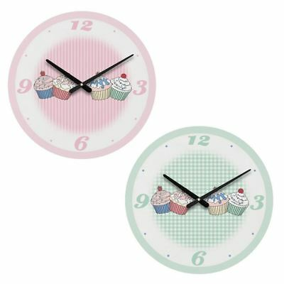 Cupcake Wall Clock Pink/Green Black Hands MDF Ideal for Home Kitchen Decorative