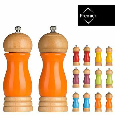 Salt and Pepper Mill Set Rubberwood / High Gloss Various Colours / Height 15cm