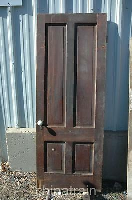 Antique Vintage Solid Wood 4 Panel House Door 78.25 x 30""