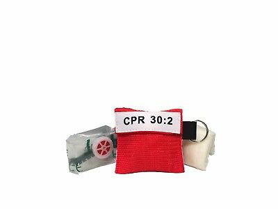 100 Extra Large Red CPR Mask Keychain with Heavy Duty Gloves