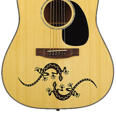 Pair Spanish Geckos Acoustic Guitar Decal Sticker 10 colour options Easy apply