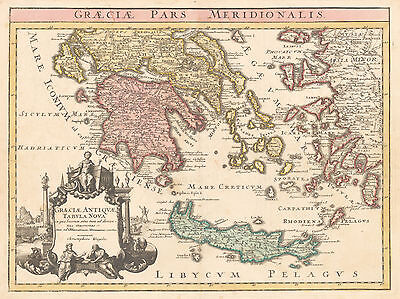 HJB-AntiqueMaps : 1720 Map of Greece, Crete and Turkey by Weigel