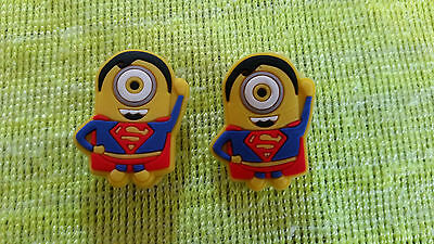 SUPERMAN MINIONS (pair) shoe charms/cake toppers!! FAST USA SHIPPING!!